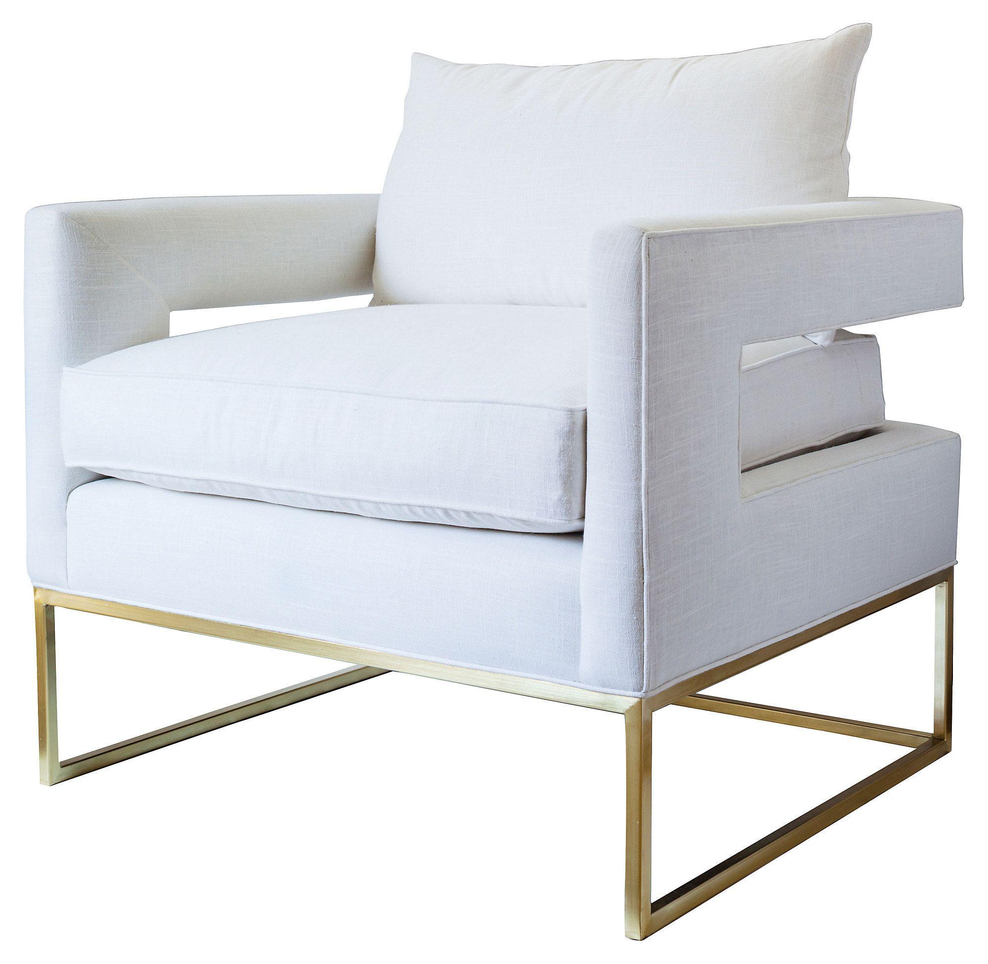 Bevin accent chair white linen one kings lane linen