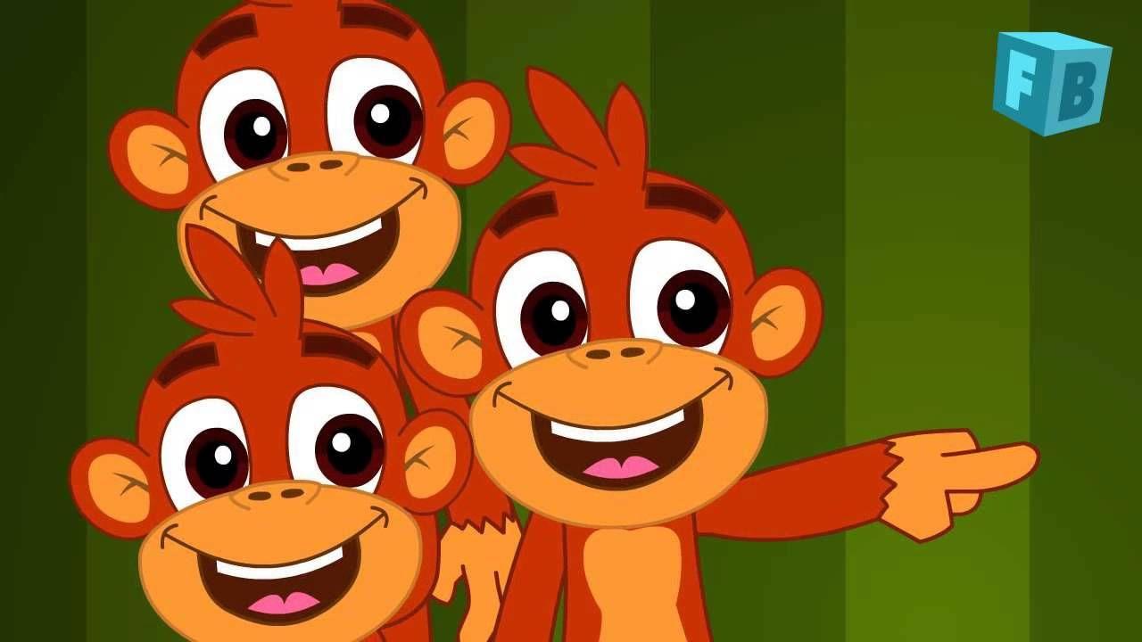 Five Little Monkeys Jumping On The Bed Children Nursery Rhyme Songs Cinco Monitos Canciones De Niños Canciones Preescolar