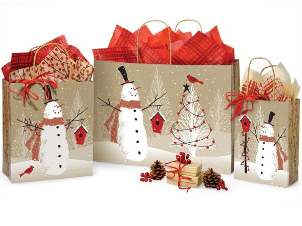 Recycled Woodland Snowman Christmas Gift Bags Made In America Usa