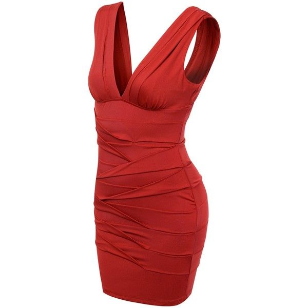 Doublju women's Grecian V Neck Sleeveless Tiered Cocktail Dress... ($37) ❤ liked on Polyvore featuring dresses, doublju, red v neck dress, v neck dress, grecian cocktail dress, tiered dress and grecian-drape dress