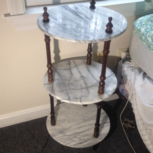 Marble End Table Home Decor 3 Tier Marble Stand Night Plant Plant Stand Tag Is Removed Rosalco Brand Chip Fre Marble End Tables Marble Tables Design Home Decor