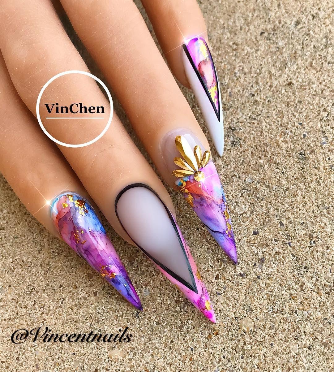 Using Poochieznails Practice Hand From Shopnailszone Com Apresnailofficial Ink For Marble Vch Stiletto Nail Art Stiletto Nails Designs Nail Art Designs