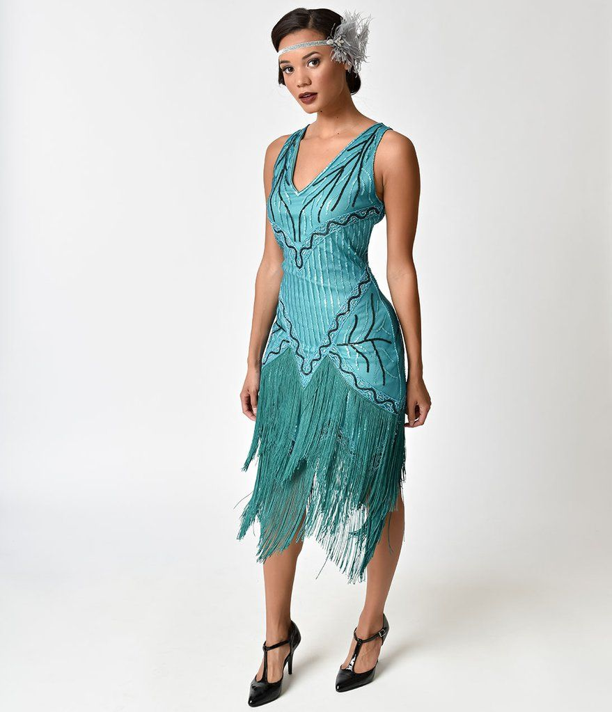 decc5833ac7 Unique Vintage 1920s Style Teal Beaded   Fringe Fosse Flapper Dress ...