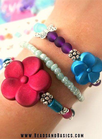 Kids Bracelets - Flower Beads -  DIY + Materials to make your own at www.beadsandbasics.com