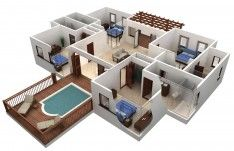 Best Free Floor Plan Software With Beautiful Outdoor Pool Design Of 3d Floor Plans Best Free Floor Plan S 3d House Plans Smart House Plans Building Plans House
