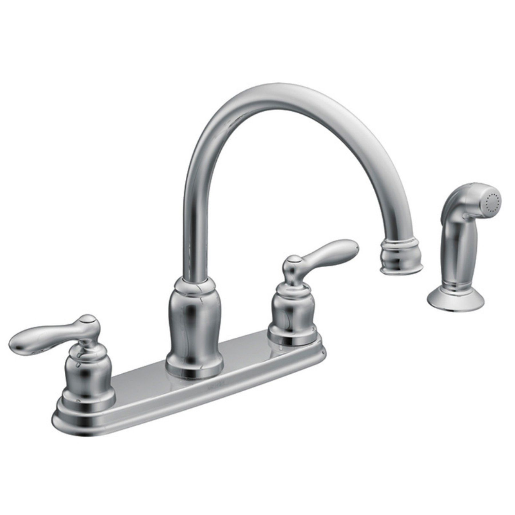 Moen Ca87888 Double Handle High Arc Kitchen Faucet With Side Spray