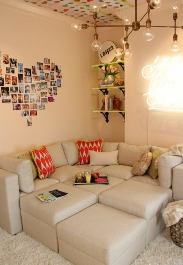 herzen von fotos im teenager schlafzimmer sofa hocker dekoideen - deko ideen schlafzimmer jugendzimmer