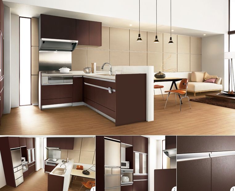 品のあるダークブラウンが印象的なシステムキッチン リビングまでの空間に生活感は感じません システムキッチン キッチンデザイン キッチンアイデア