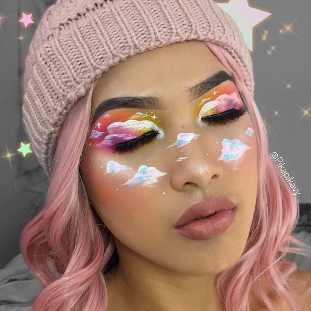 Clouds Makeup Collab Check Out Pikapikavy For More Makeup Looks Full Face This Is A C Face Art Makeup Creative Makeup Looks Creative Makeup