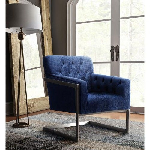 modern blue velvet brushed metal frame accent chair - Blue Velvet Chair