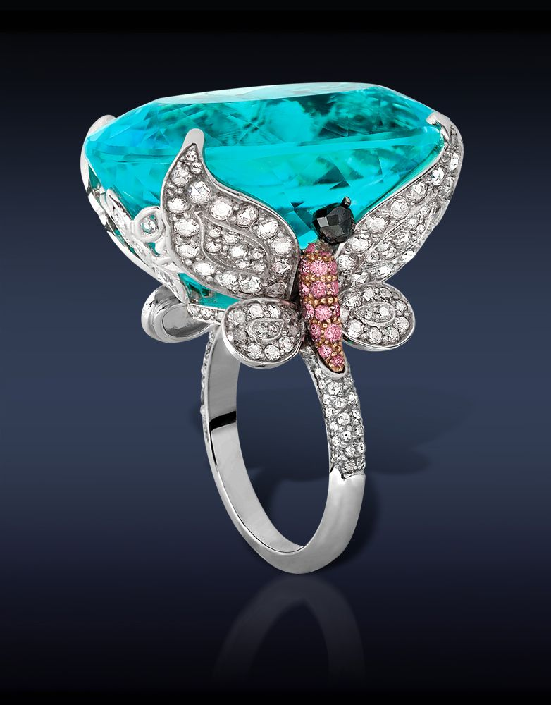 Paraiba Tourmaline Cocktail Ring, Featuring: Gubelin Certified 48.27 Ct Natural Paraiba Tourmaline, Flanked by Two Butterflies Composed 2.38 Ct White Round Cut Diamonds & 0.37 Ct Pink Round Cut Diamonds Mounted in 18K Rose Gold Topped with 0.20 Ct Black Round Cut Diamonds (2 Stones), Mounted in Platinum.