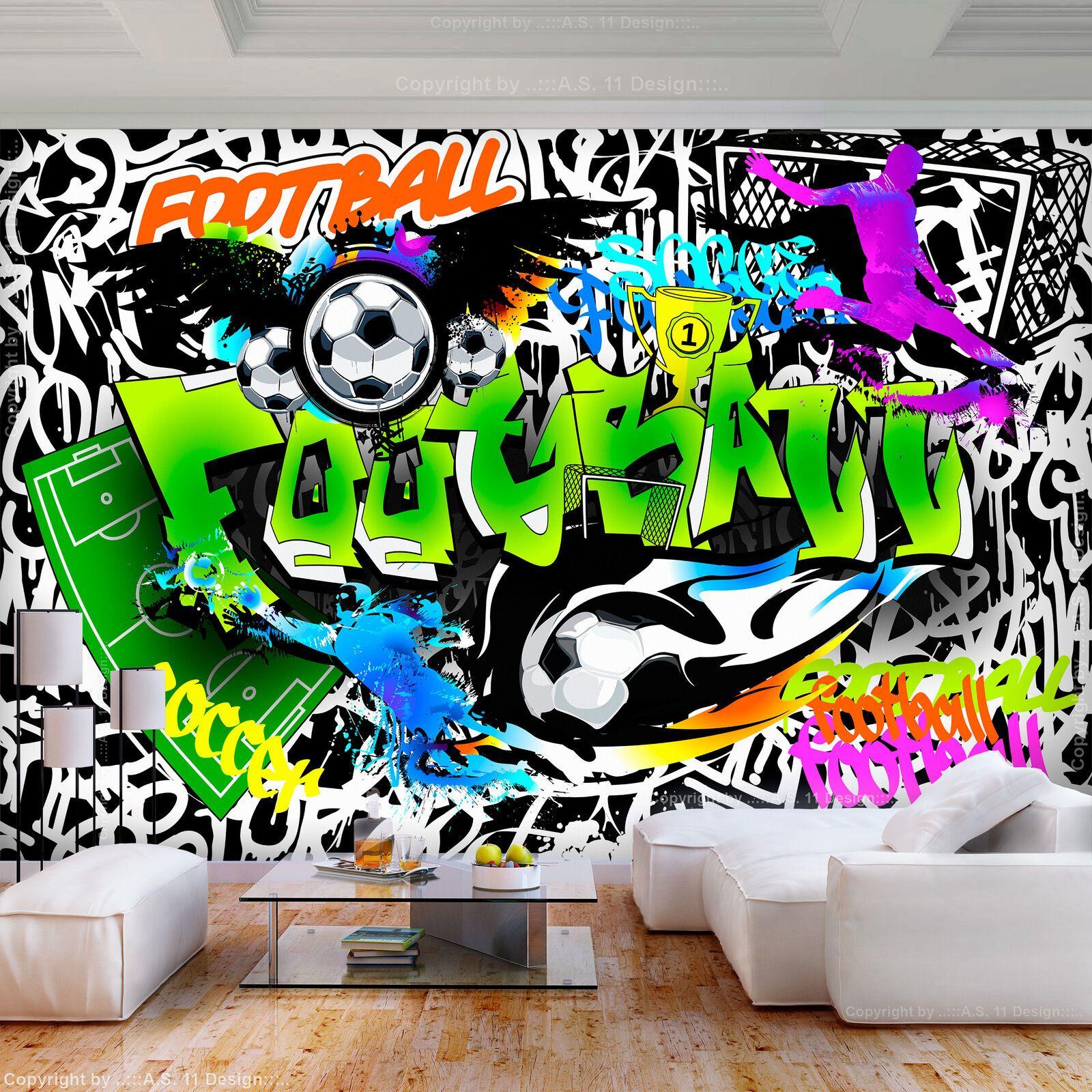 VLIES FOTOTAPETE GRAFFITI bunt Steinwand TAPETE Fußball ...