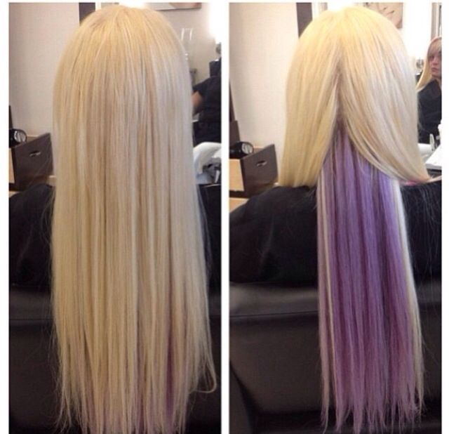 Lavender Highlights Blonde Google Search Hidden Hair Color Hair Color Highlights Blonde Hair Extensions