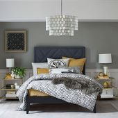 Terrace Side Table #graybedroomwithpopofcolor