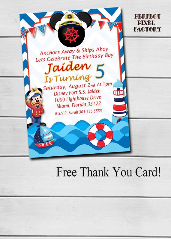 MICKEY MOUSE NAUTICAL Birthday By PerfectPixelFactory On Etsy Nautical Invitations Photo Mickey