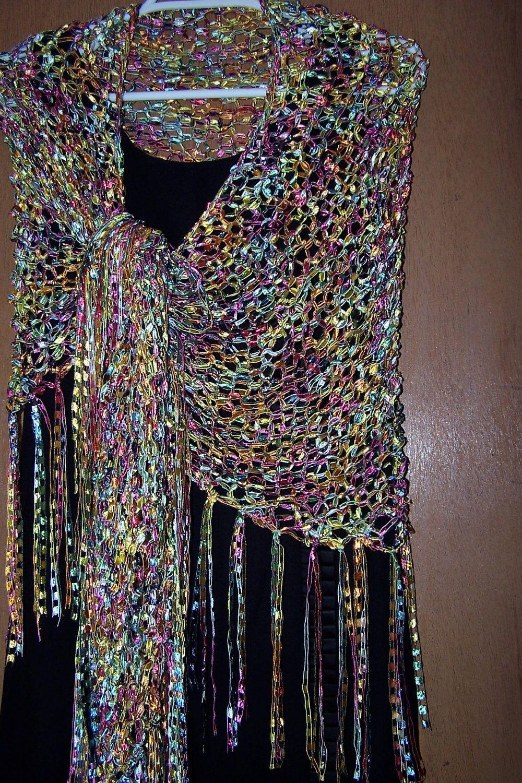 Knit Shawl, Ladder Ribbon Yarn Wrap, Triangular Shawl, Day or ...