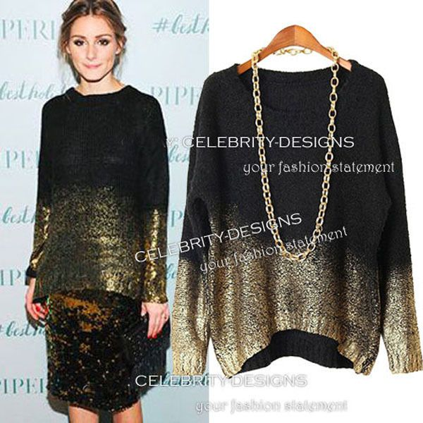 a0095f496214e7 SW121 Celebrity Style Women Metallic Gold Dipped Asymmetrical Hem Knitted  Sweater Pullover Slouchy Jumper Tops Knitwear 2015 New