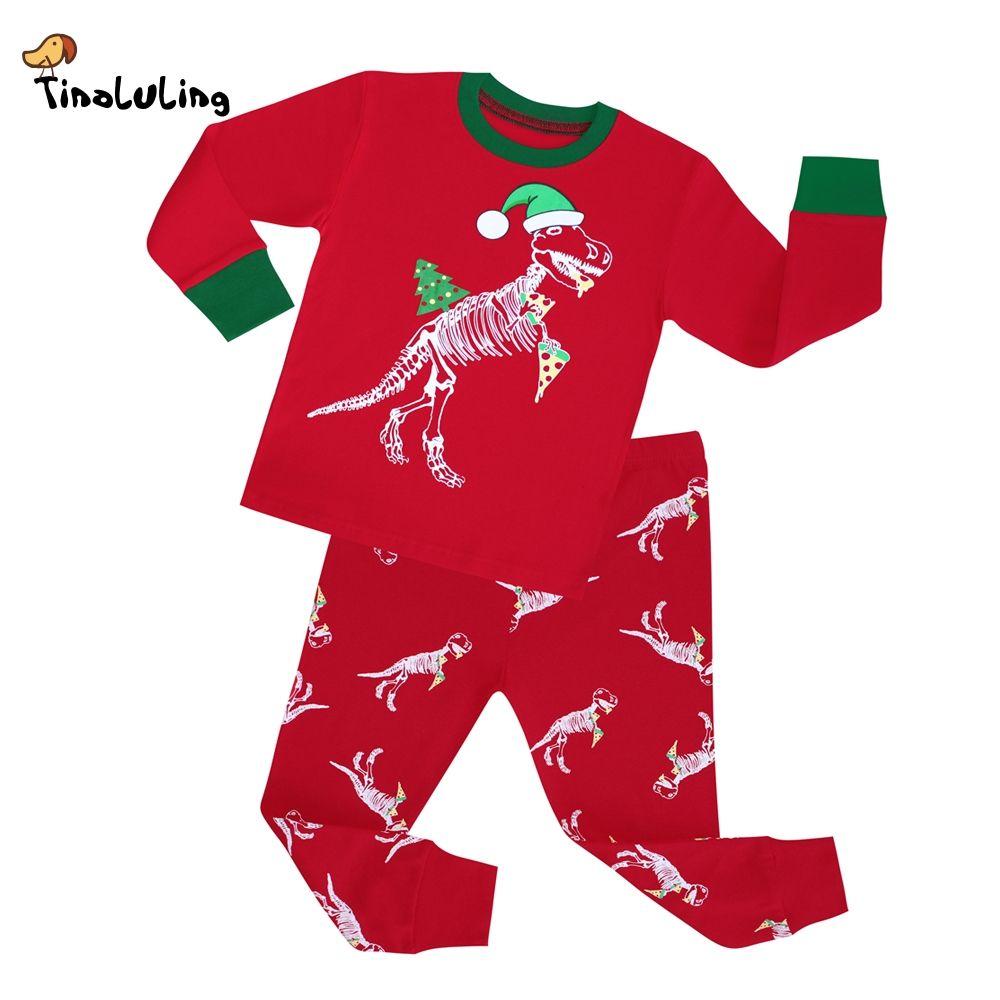 7e7aa1893f1f TINOLULING 2-8 years children christmas dinosaur pajamas sets kids ...