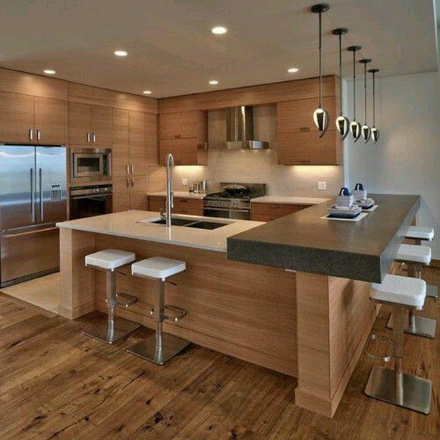 Moderno #diseño de #cocina en isla. Donde destaca #tope oscuro del ...