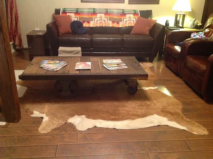 This Living Room Is Complete With Brown Hereford Cowhide Deep In The Heart Of Texas Furrugs Com