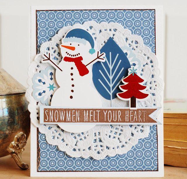 card Christmas snowman doily tree trees  by Becki Adams Merry Christmas