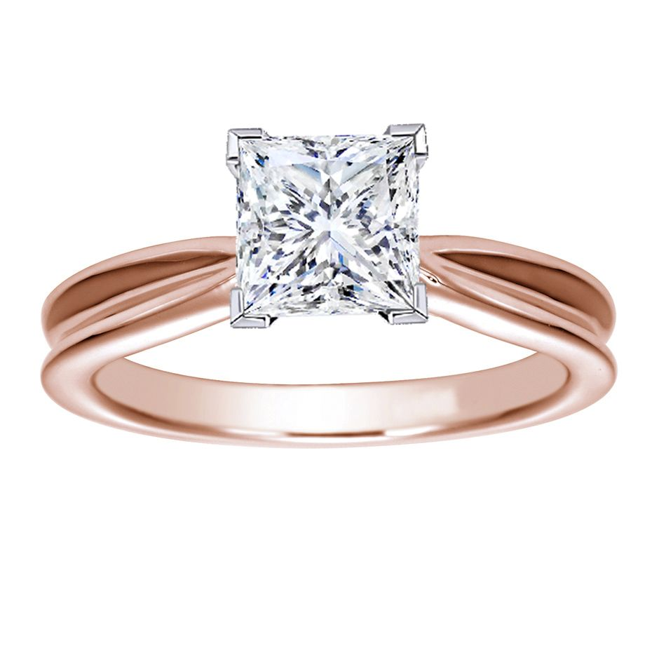 Something Borrowed Wedding Band: Princess Cut Rose Gold Solitaire Setting 21
