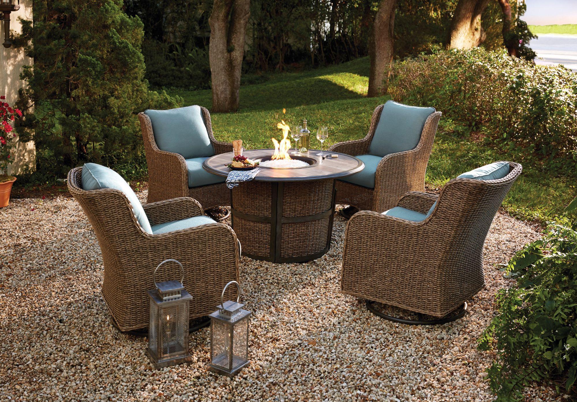 Homestead 5 Pc Firepit Set Backyard Patio Outdoor Furniture Sets Outdoor Living