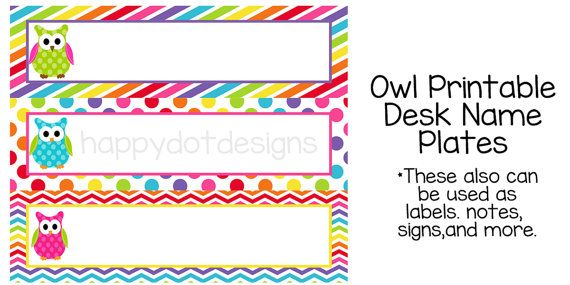 photograph about Free Printable Name Plates titled Printable Rainbow Owl Table Standing Plates / Status via