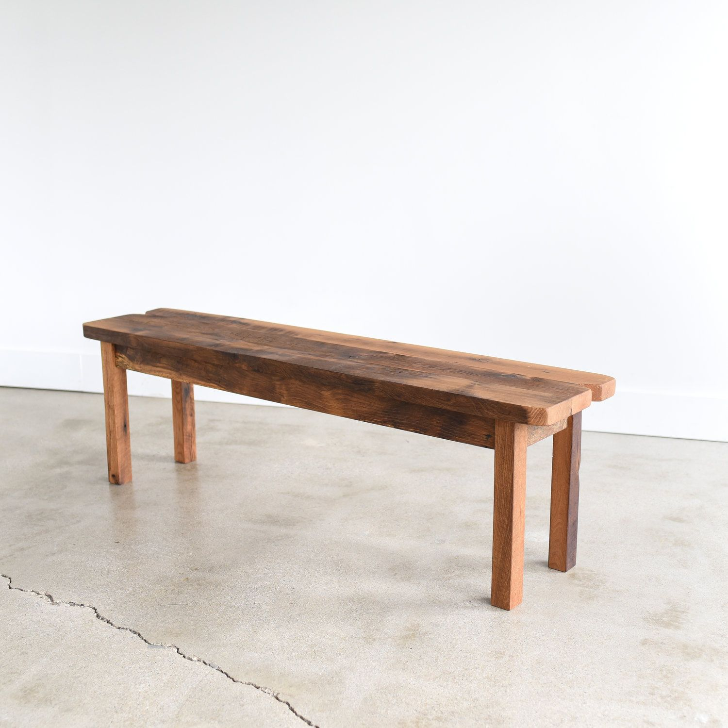 Reclaimed Wood Farmhouse Bench Smooth Finish Wood Wood