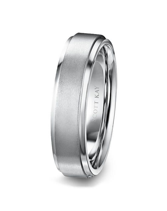 Mens Platinum 6mm Wedding Band with Raised Satin Center Bright