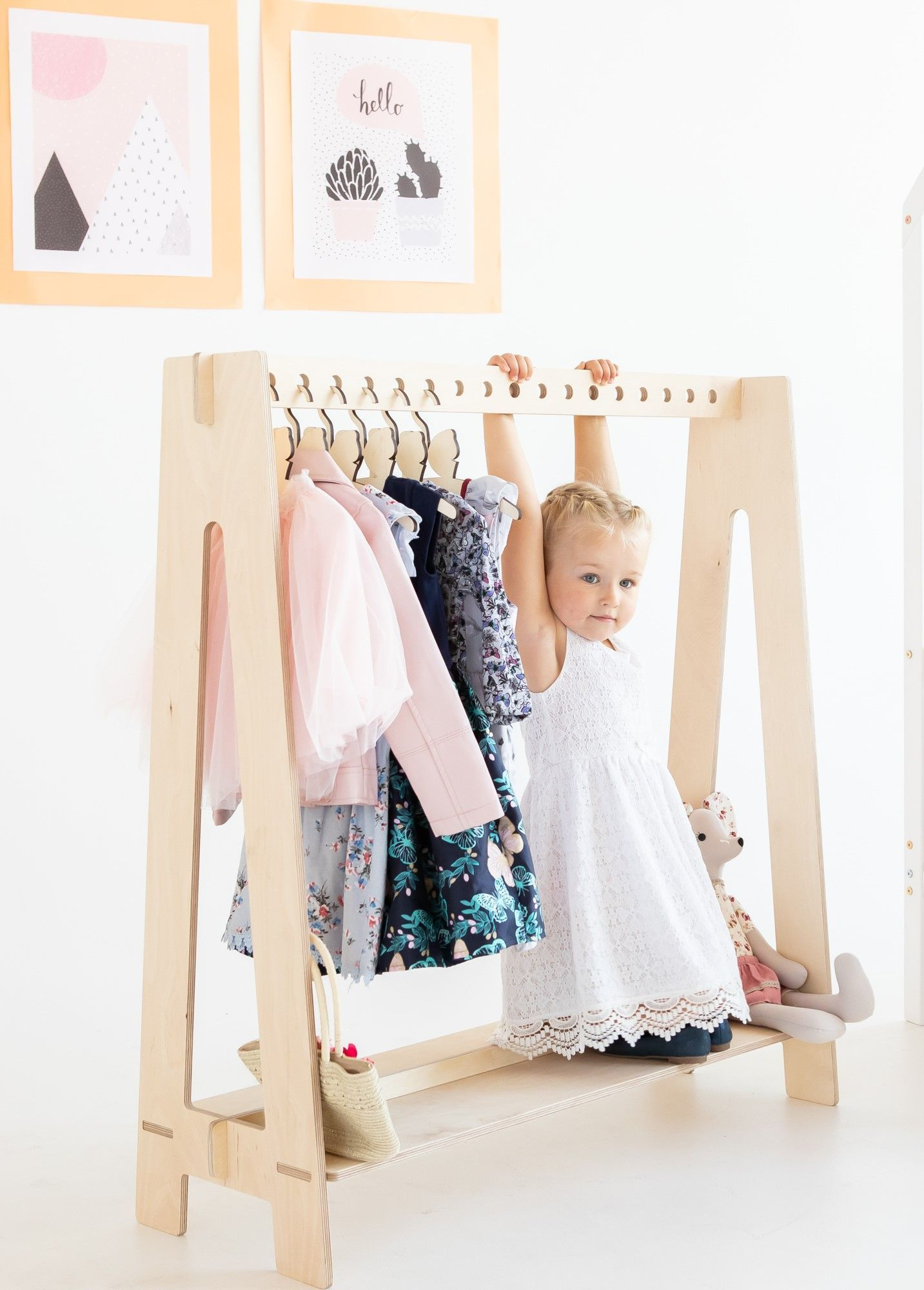 Wood Stand Clothing Rack Nursery Decor Clothes Storage Kids Clothing Childrens Decor Kids Bedroom P In 2020 Kids Clothes Storage Wood Clothes Wood Clothing Rack
