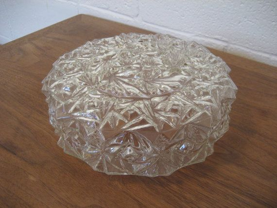 Vintage Mid Century 1950 S Ceiling Light Cover Clear Glass