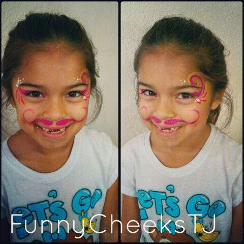 Pink glitter mustache and eye design face painting by FunnyCheeksTJ