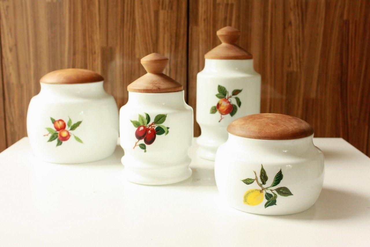 vintage porcelain kitchen canisters set of four depicting fruit by