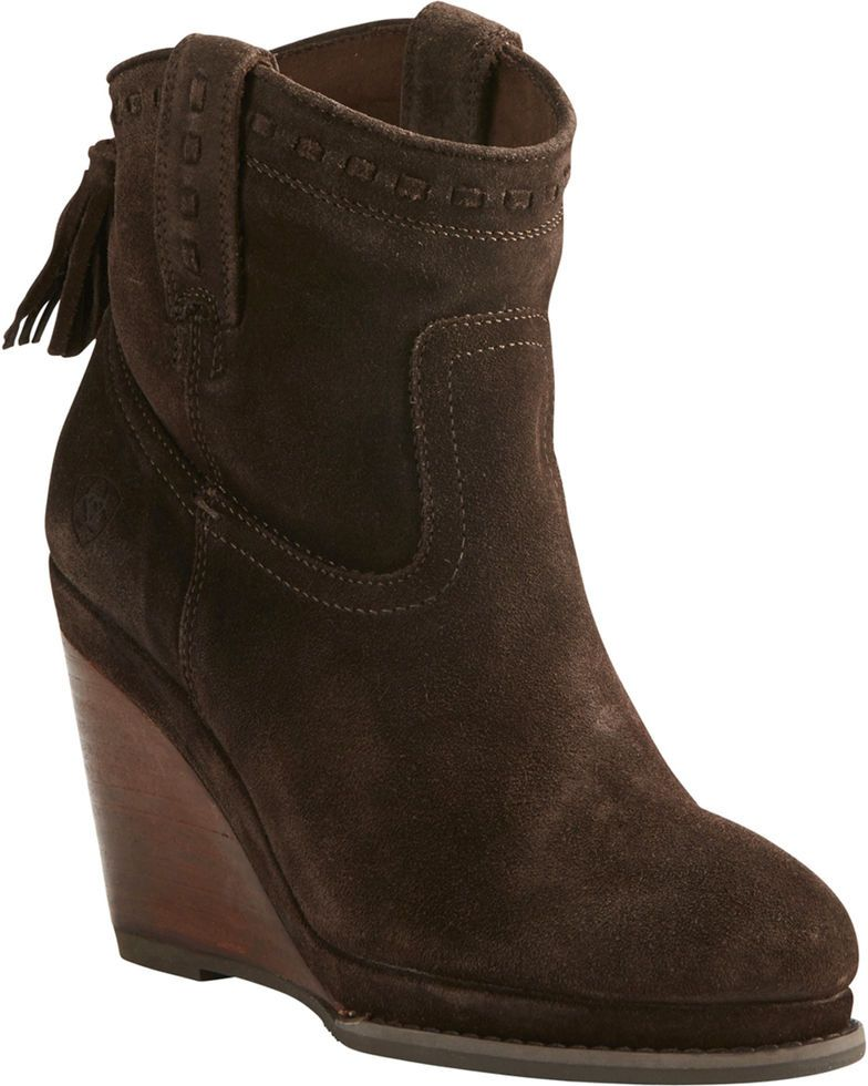 6d310bc86391 Ariat Women s Dark Brown Suede Broadway Wedge Booties - Round Toe ...