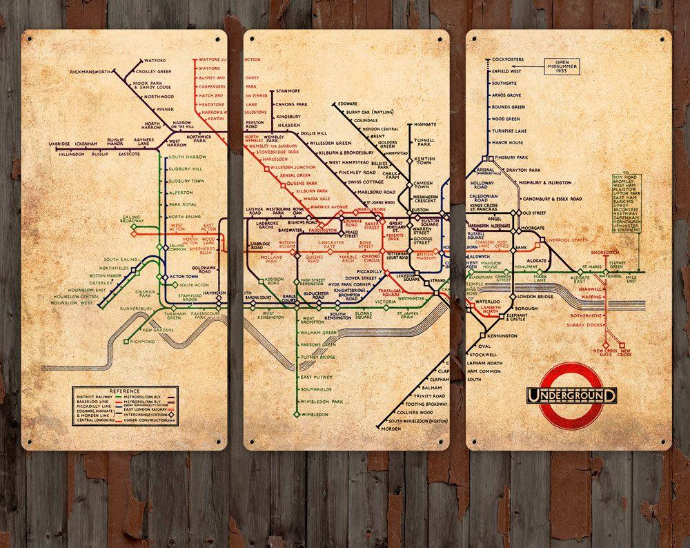 Vintage Map of London Underground on METAL