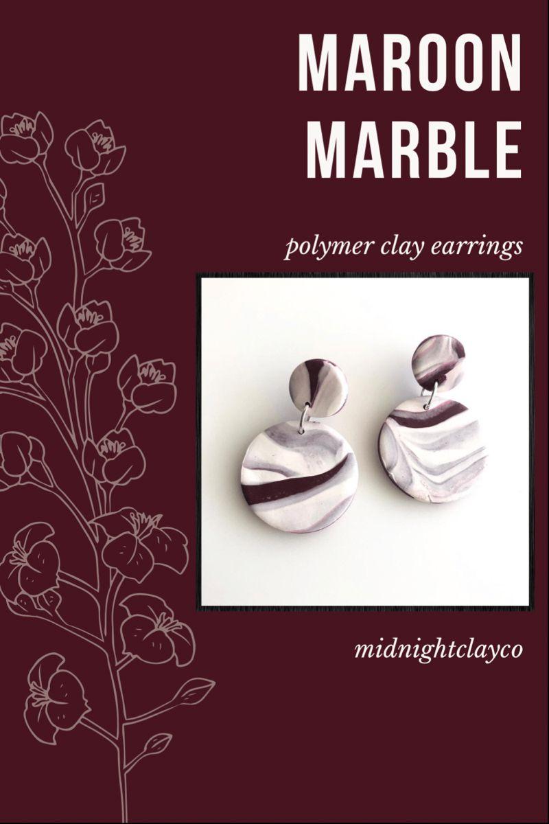 Marbled Maroon Handmade Statement Polymer Clay Dangle Earrings