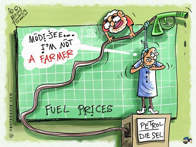 After two rounds of cuts, petrol prices were today raised by Rs 3.96 per litre and diesel by Rs 2.37 a litre, tracking global cues.