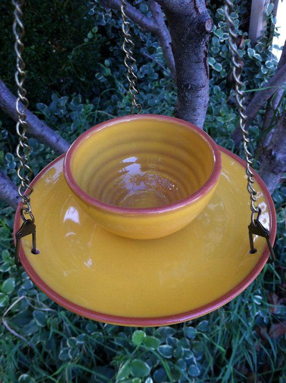 Birdfeeder Southwestern sunset yellow by DotnBettys on Etsy, $24.00
