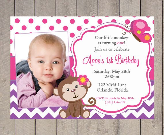 Birthday invitation girl first birthday hot pink and purple birthday invitation girl first birthday hot pink and purple monkey girl with filmwisefo Image collections