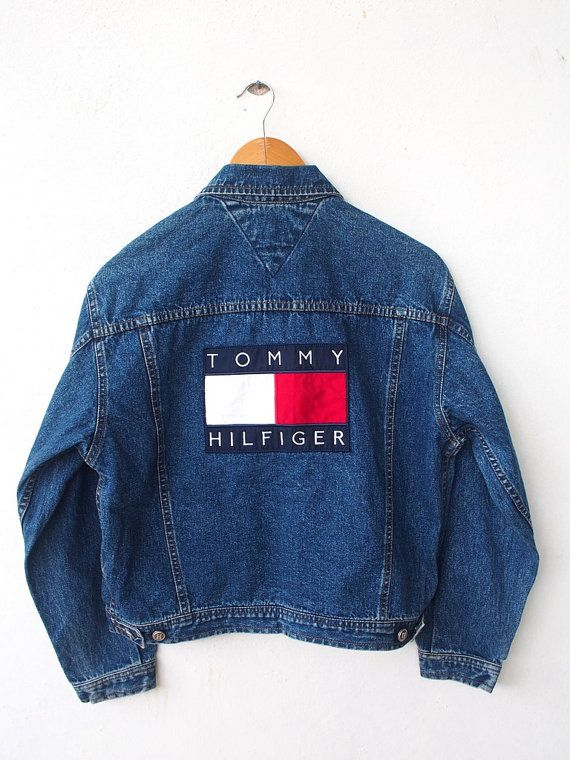 vintage 90 39 s tommy hilfiger big logo 80 39 s hip hop embroidery women jeans denim jacket button. Black Bedroom Furniture Sets. Home Design Ideas