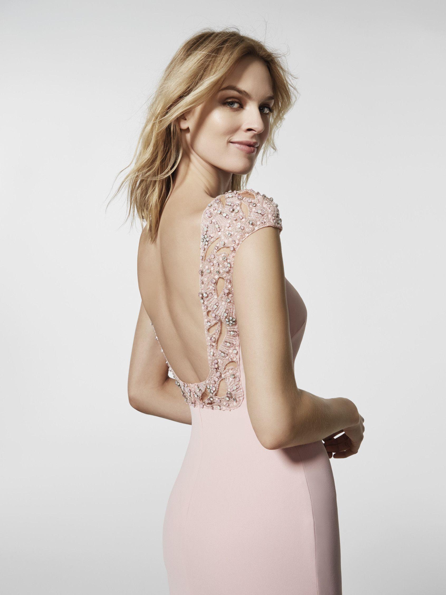 Vestido de festa rosa pálido - Vestido comprido GRAEL - manga curta ...