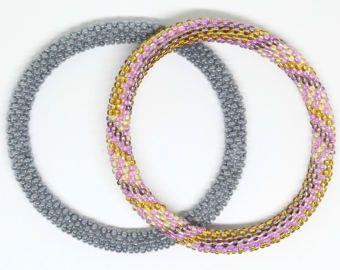 Gypsy Nepal Roll On Bracelets Handmade Nepal Glass Bead Roll On
