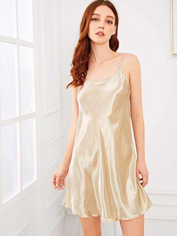 2f860f083 Nightwear Solid Cami Dress Lingerie   Loungewear