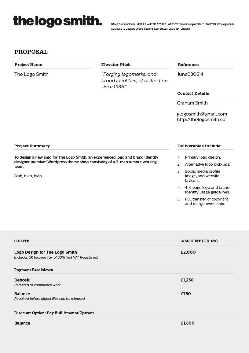 logo design proposal invoice template to download