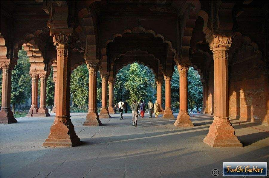 Pillared Hall at Mughal's Red Fort Old Dehli, India