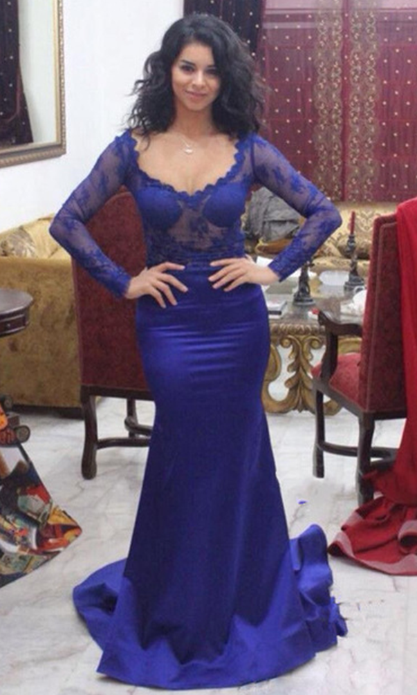 Prom Dress,Long Sleeve Prom Dress,Mermaid Evening Dress,Appliques ...