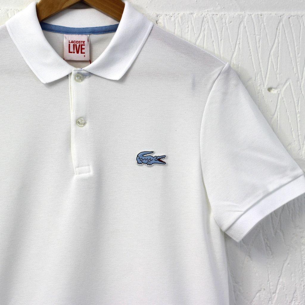 dd3b48c8 Lacoste L!VE Big Croc Polo (White/Sky Blue) #lacoste #lacostelive #polo  #newentry #menswear
