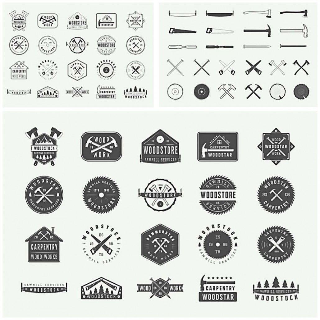 Description: Set of 40 vintage carpentry logos, badges
