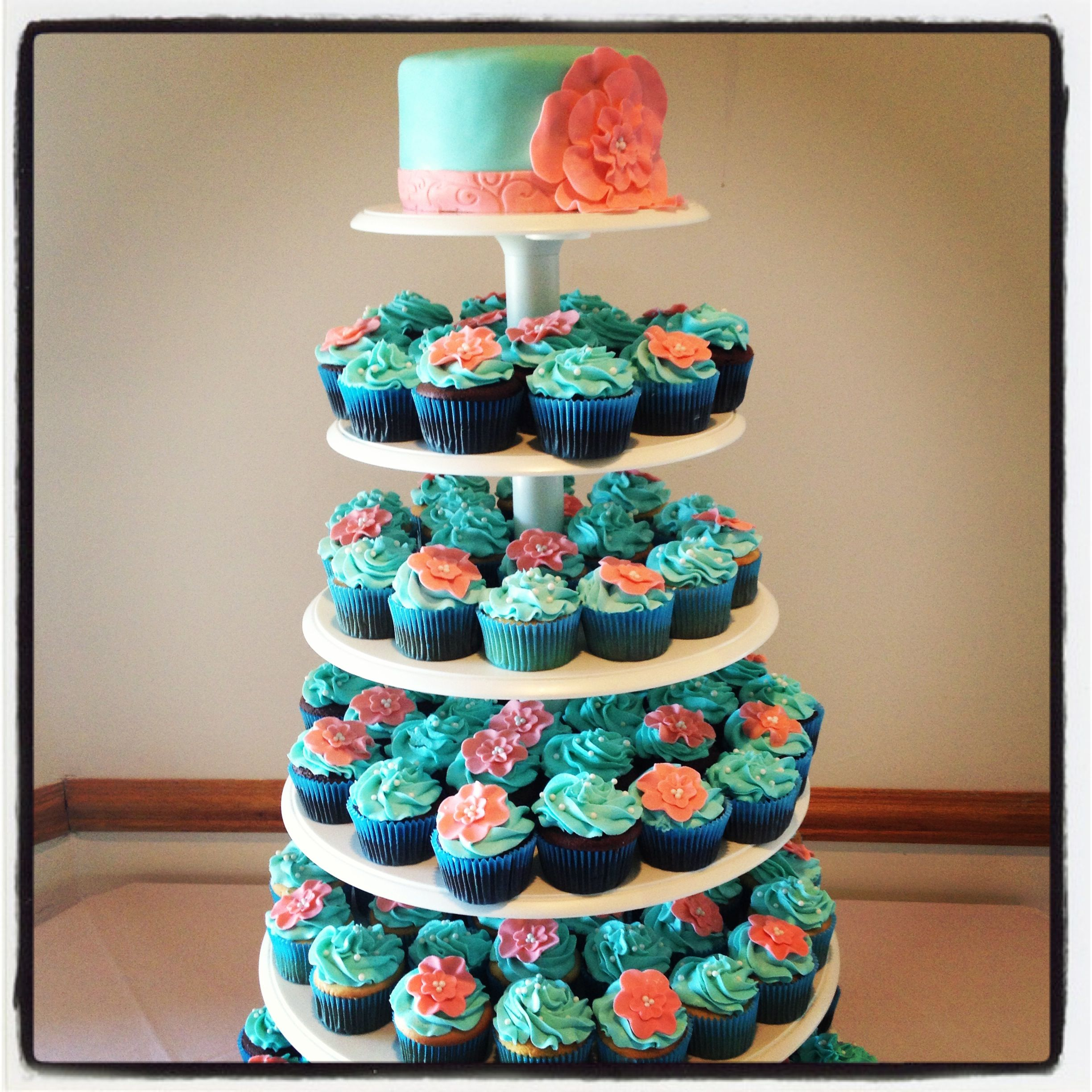 Teal & Coral Wedding Cupcake Tower...love The Idea Of